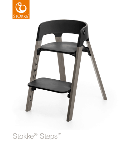 Stokke Steps Højstol Bøg Hazy Grey/Sort