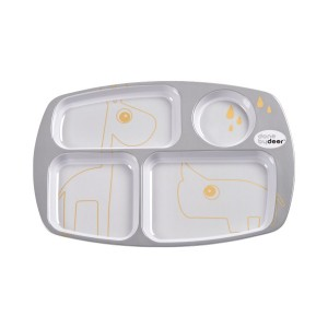 Done By Deer Compartment Plate Contour - Grey/Gold